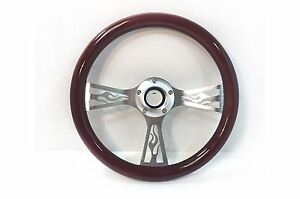 14 Flamed 3 Spoke Aluminum Steering Wheel Real Wood Wrap 5 Slot Hot Rod Classic