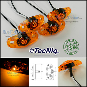 4 Tecniq Amber Led Light Clearance Marker Trailer Truck Surface Mount 2 Wire