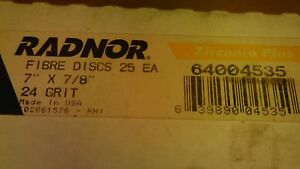 Radnor 64004535 Zirconia Fibre Disc 7 X 7 8 24 Grit Lot Of 25