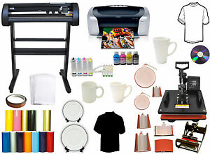 500g Laser Point Vinyl Cutter Plotter 8in1 Combo Heat Press printer ciss Bundle