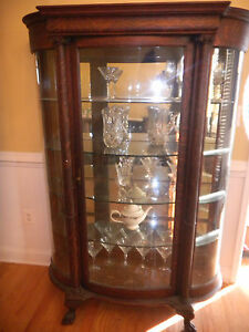 Antique American Oak Bow Front China Cabinet Lions Feet