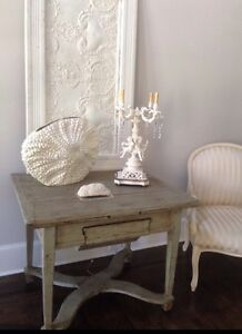 Last Call Grey Distressed European Antique Side Table With Pull Out Leaves