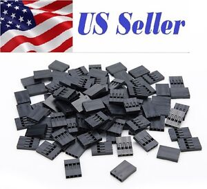 100 Pcs 4pin Dupont Connector 2 54mm Jumper 4p Wire Cable Housing
