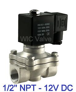 1 2 Inch Stainless Electric Air Water Gas Solenoid Valve Nc 12v Dc Viton Seal