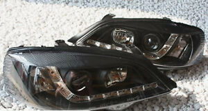 Black Clear Finish Headlights Set With Led Drl Tfl For Opel Astra G 98 05