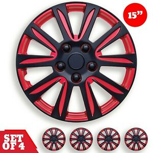 Set 4 Hubcaps 15 Wheel Cover Marina Bay Black Red Abs Easy To Install Universal