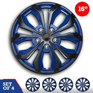 Set Of 4 Hubcaps 16 Swiss Drive Wheel Cover Spa Blue Black Abs Easy Install