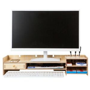 Office Desk Organizer Computer Monitor Rack Wood Stand Tabletop Tidy Storage Box