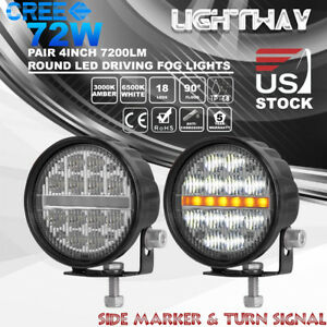 2x 4inch 72w Led Round Work Light Flood Cree Offroad Truck Suv Ute Fog Driving