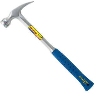 Estwing E3 24sm 24oz Straight Claw Milled Face Hammer With Blue Vinyl Grip