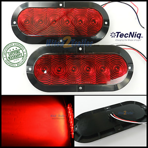 2 Trailer Truck Red Led Surface Mount 6 Oval Stop Turn Tail Light Sealed Tecniq