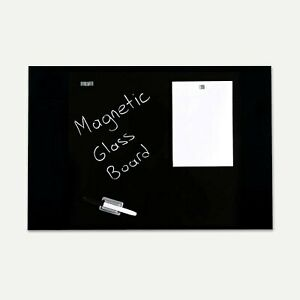 Magnetic Dry Erase Tempered Glass Write Board Set Black 23 63 X 35 44
