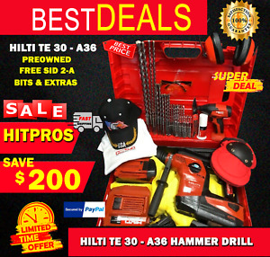 Hilti Te 30 a36 Hammer Drill Preowned Free Sid 2 a Bits Extras Fast Ship