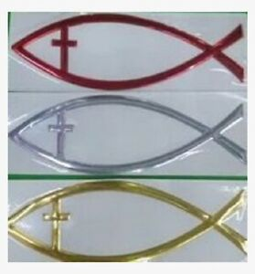 Ichthus Jesus Fish With Cross Eye 6 X 2 Car Truck Waterproof Decal 125