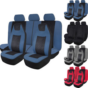 Universal Car Seat Covers Set High Back Seat Protector Airbag Fit Truck Suv Cars