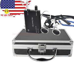 Black 3 5x420 Dental Binocular Loupes Magnifier Led Head Light Lamp W Metal Case