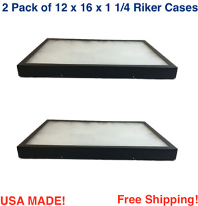 2 Pack Of Riker Display Cases 12 X 16 X 1 1 4for Collectibles Arrowheads Jewelry