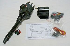 Billet Distributor All Black Ready To Run For Chevy 262 454 Sbc Bbc W Coil