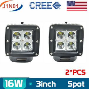 2x 3inch 16w Cube Pods Spot Cree Led Work Light Bumper Off road Fog Square Flood