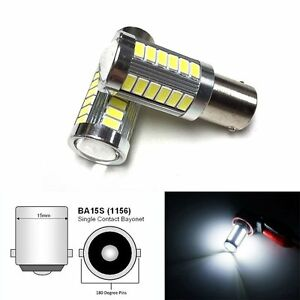 2x 1156 33smd Led Projector Lens 6000k Bulb Backup Reverse Light For Vw