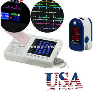 Usa 7 Lcd Color Digital 3 channel 12 lead Electrocardiograph Ecg ekg oximeter