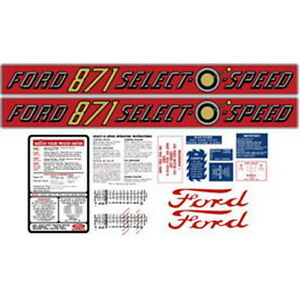 New 871 Ford Tractor Complete Decal Kit 871 Select o speed Quality Decals