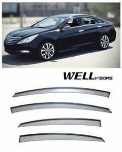 For 11 14 Hyundai Sonata Wellvisors Side Window Deflectors Visors W Black Trim