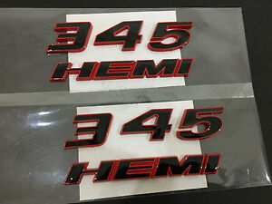 2x Oem 345 Hemi Emblem Badge Decal 3d For Dodge Challenger Chrysle Y Red Frame