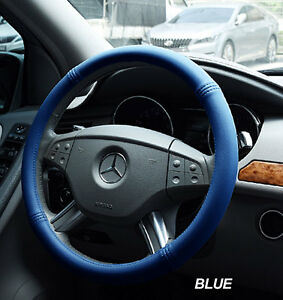 Iggee Blue S Leather Premium High Quality Steering Wheel Cover 15