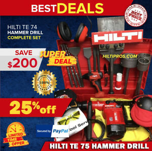 Hilti Te 74 Hammer Drill Preowned Free Sid 2 a Bits Extras Fast Ship