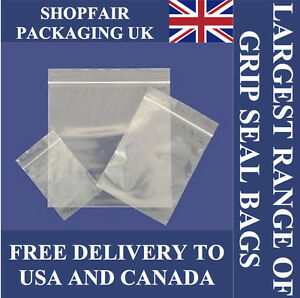 Clear Seal Top Bags Poly Grip Plastic Zip Lock Zipper Free Post To Usa