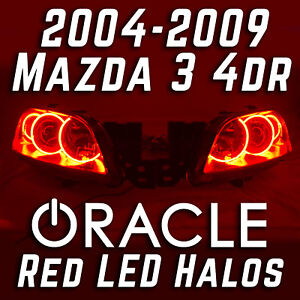 2004 2009 Mazda 3 4dr 4 Door Projector Headlights With Oracle Red Led Halo Kit