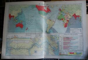 1915 Large Antique Mercantile Map The Panama Canal Effect On Ocean Routes