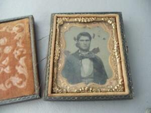 Antique Miniature Civil War Era Leather Gold Gilt Brass Tintype Picture Frame