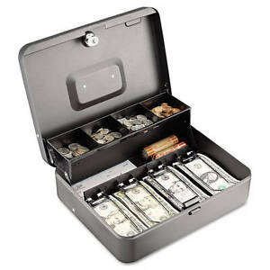 Cash Box Bill Weights Business Office Portable Key Lock Change Sorter Security