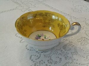 Vintage Hand Painted Walsh Japan Tea Cup White Yellow