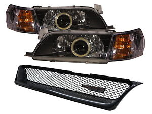 Corolla E100 Mk7 93 97 Cob Projector Headlight grille Black Jdm For Toyota Lhd