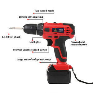 21v Li ion Electric Cordless Drill Power Torque 45n m Variable Speed 350 1400rpm