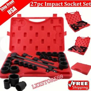 2017 27 Pc 3 4 Flank Drive Air Impact Socket Ratchet Set 6 Points Sae Metric Bp