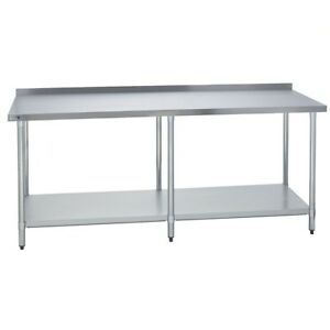 Stainless Steel Commercial Work Prep Table 2 Backsplash 30 X 84 G