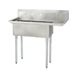3 Three Compartment Commercial Stainless Steel Sink 44 5 X 19 8 G