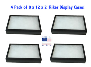 4 Pack Of Riker Display Cases 8 X 12 X 2 For Collectibles Arrowheads More