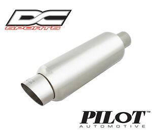 Dc Sports Stainless Steel Exhaust Muffler W Slant Tip 2 5 Inlet 2 5 Outlet