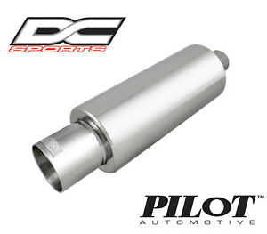 Dc Sports Universal Stainless Steel Exhaust Muffler 2 5 Inlet 4 Outlet