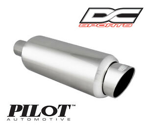 Dc Sports Universal Stainless Steel Exhaust Muffler 2 25 Inlet 3 25 Outlet