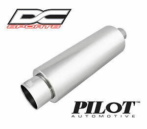 Dc Sports Universal Stainless Steel Exhaust Muffler 2 25 Inlet 3 75 Outlet