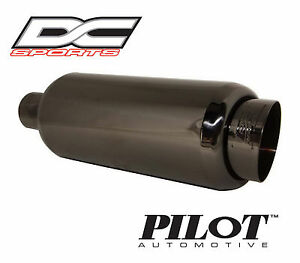 Dc Sports Universal Stainless Black Chrome Exhaust Muffler 2 1 In 3 9 Outlet