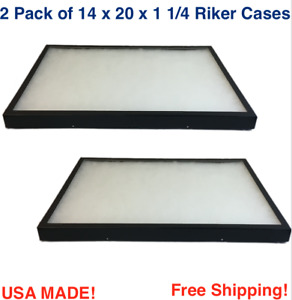 2 Pack Of Riker Display Cases 14 X 20 X 1 1 4 For Collectibles Jewelry Arrowhead