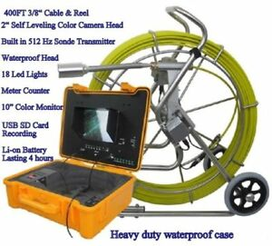 Sewer Drain Pipe 10 Lcd 400 Ft Cable 2 Snake Video Camera Foot Counter Usb Rec
