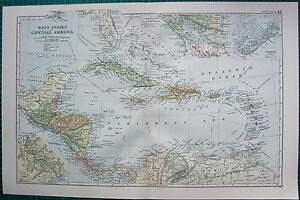 1901 Large Victorian Map West Indies Insets Bermuda Panama Nicaragua